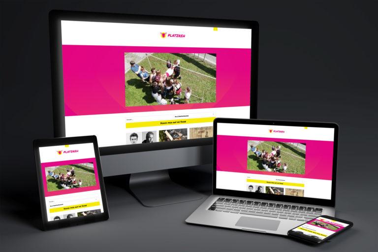 Mockup Platzreh Webseite für Desktop, Tablet und Mobil