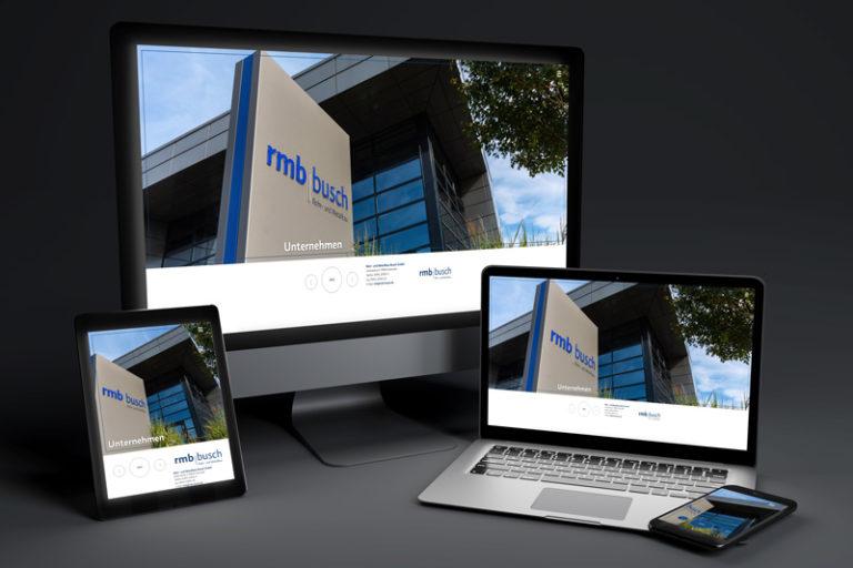 rmb Busch Webseite präsentiert auf Desktop, Laptop, Tablet und Smartphone (Mockup)