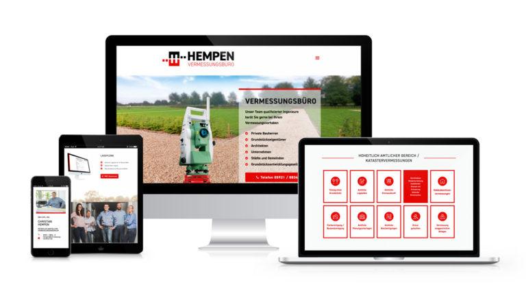 Hempen Webseite präsentiert auf Desktop, Laptop, Tablet und Smartphone