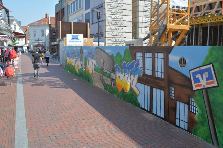 Graffiti Projekt am Bauzaun der Volksbank Lingen